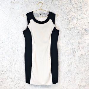 Calvin Klein color block illusion sheath dress
